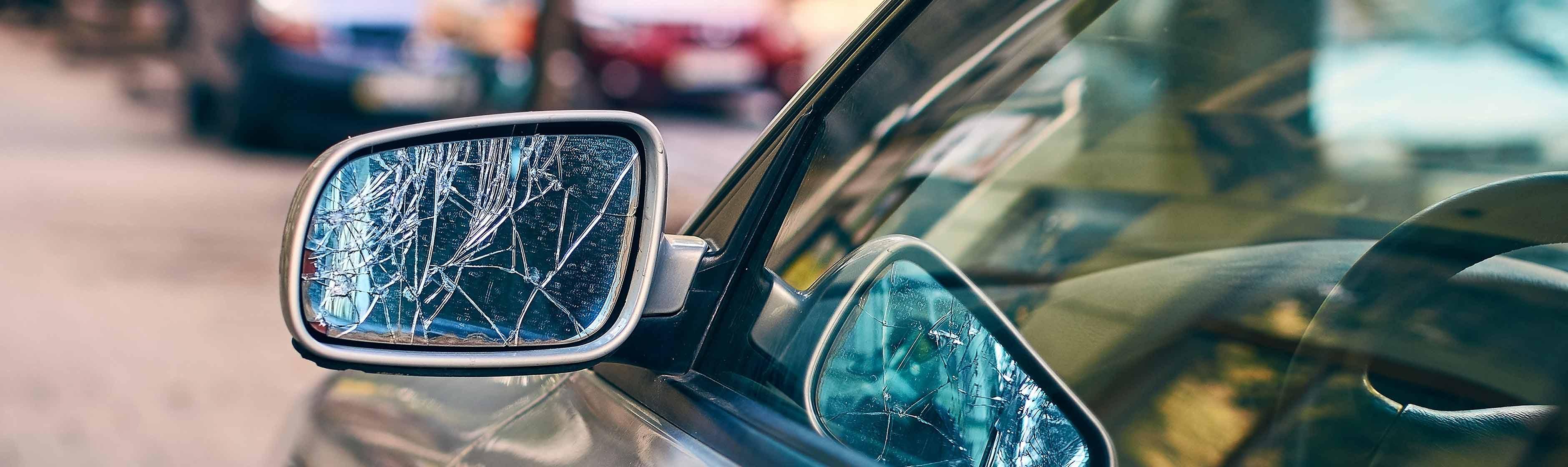 Kapotte autospiegel