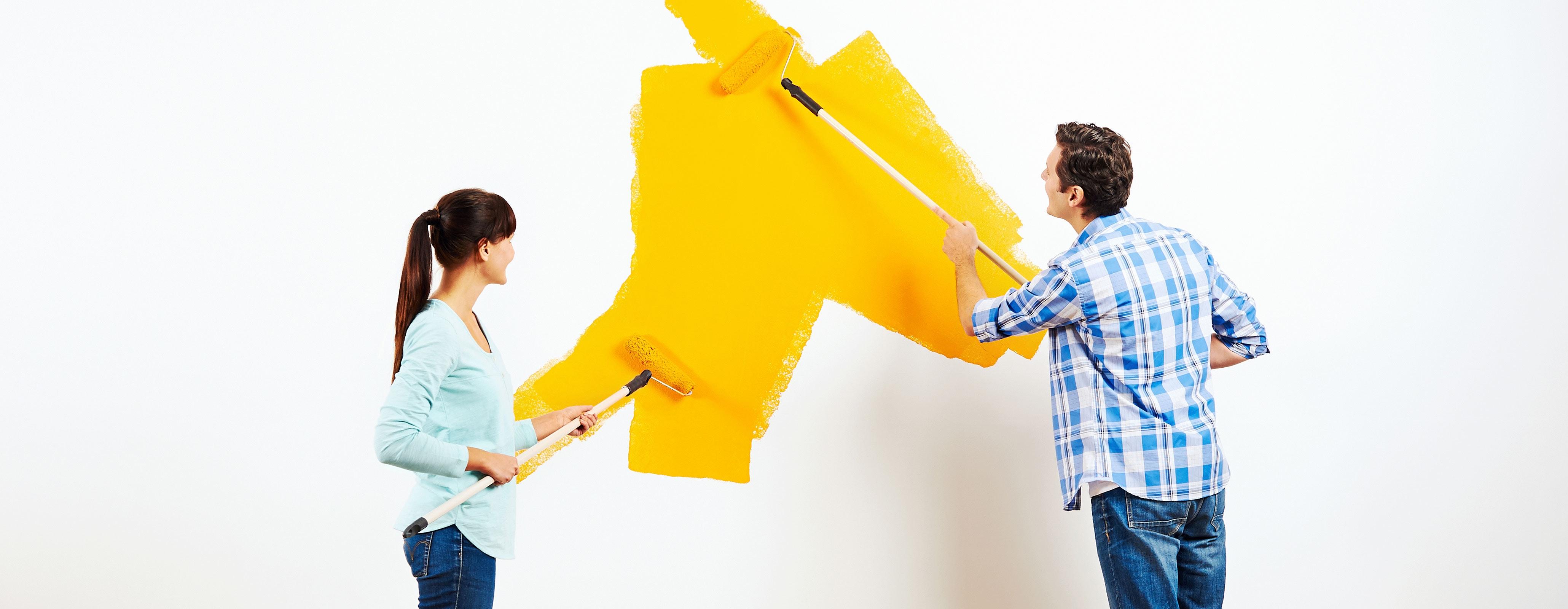 Stel verft muur geel