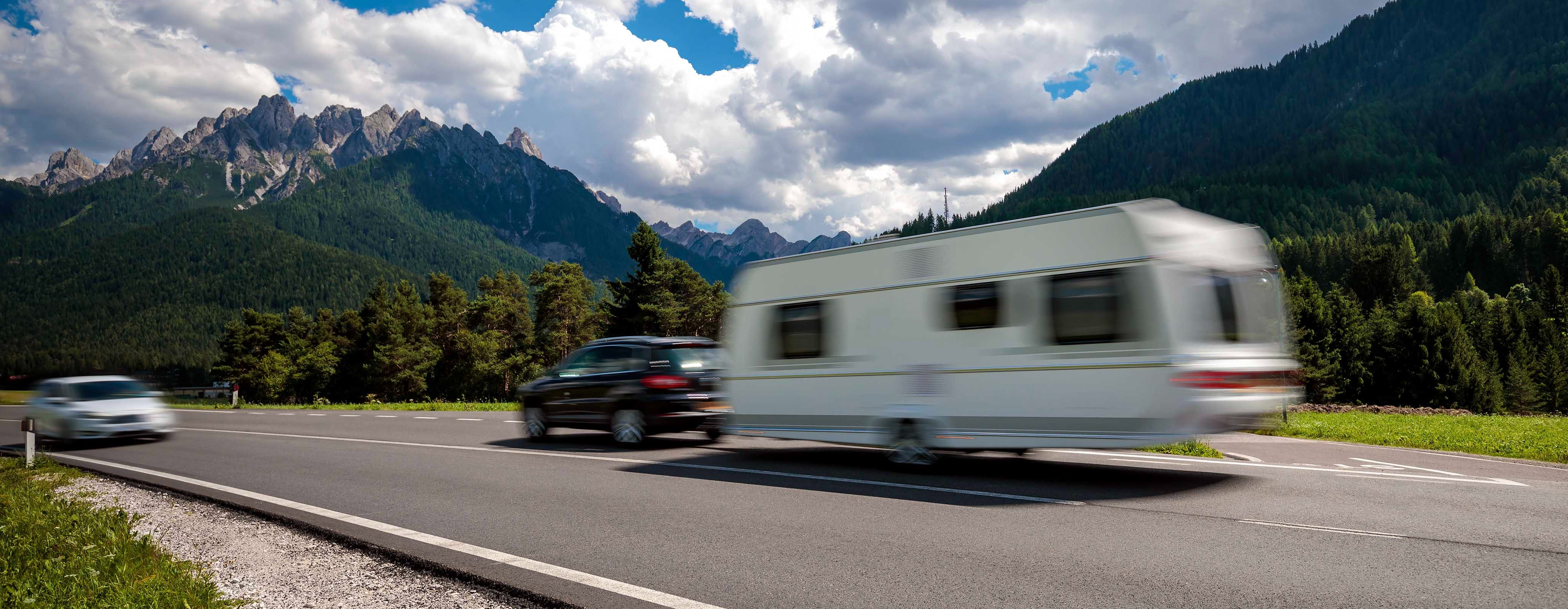 Met de caravan in de bergen