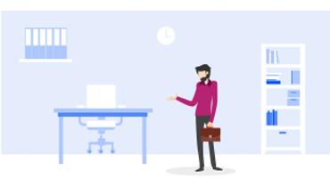 Illustratie van man op kantoor