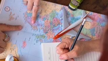 Kaart met vliegtuig